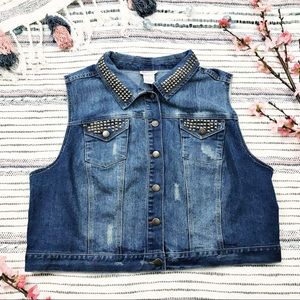Monroe & Main Denim Studded Vest